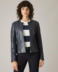 Jaeger Collarless Fitted Leather Biker Jacket - Blue