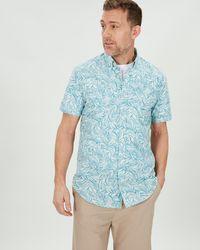 Jaeger Palm Print Shirt - Blue