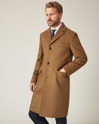 Jaeger Single Breasted Wool Cashmere Overcoat - Natural