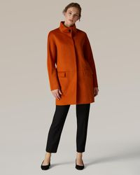Jaeger Collar Cocoon Coat - Orange