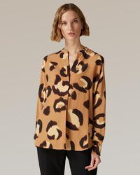 Jaeger Animal Print Silk Tunic - Multicolour