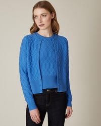 Jaeger Cropped Wool Cashmere Cable Knit Cardigan - Blue