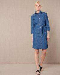 Jaeger Chambray Shirt Dress - Blue