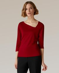 Jaeger Aysmmetric Neck Jersey Top - Red