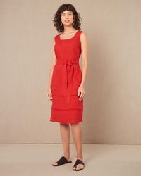 Jaeger Square Neck Linen Dress With Fringing - Red