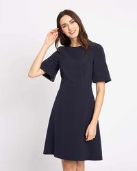 Jaeger - Tailored Fit And Flare Open Sleeve Dress - Lyst