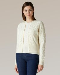 Jaeger Cropped Wool Cashmere Cable Knit Cardigan - White