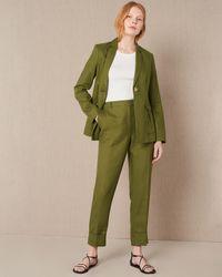 Jaeger Linen Turn Up Detail Trousers - Green