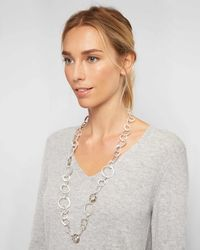 Jaeger - Melissa Metal And Crystal Loop Long Necklace - Lyst