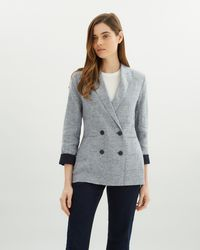 Jaeger - Cross Dyed Double Breasted Linen Blazer - Lyst