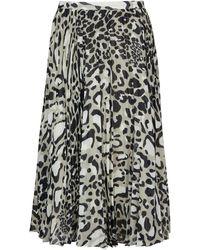 Jaeger Pleated Animal Print Skirt - Multicolor