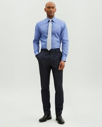 Jaeger Slim Sharkskin Suit Trousers - Blue