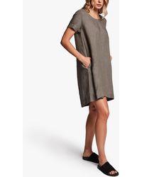 James Perse Linen Back Pleat Shift Dress - Multicolor