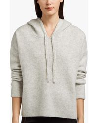 James Perse Cashmere Silk Cropped Hoodie - Gray