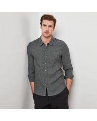 James Perse Long Sleeve Linen Pocket Shirt - Grey