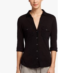 James Perse Sheer Slub Side Panel Shirt - Black