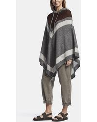 James Perse Loose Stitch Wool Cashmere Poncho - Brown