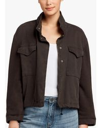 James Perse - Mixed Media Cropped Army Jacket - Lyst
