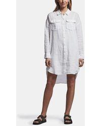 James Perse Linen Military Shirt Dress - White