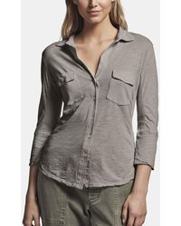 James Perse Sheer Slub Side Panel Shirt - Grey