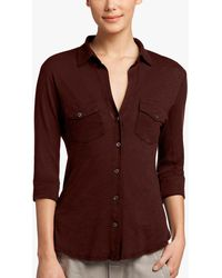 James Perse Sheer Slub Side Panel Shirt - Red