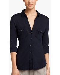James Perse Sheer Slub Side Panel Shirt - Blue
