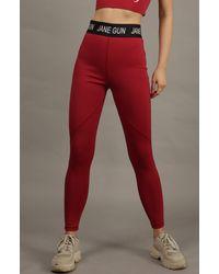 Jane Gun Crimson Red High Waist Flex Legging