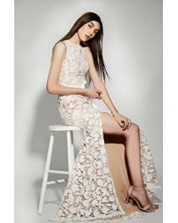 Jarlo Petal All Over Cutwork Lace Maxi Dress With Bow Detail Waist - White