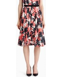 Jason Wu - Printed Cotton Shirting A-line Skirt With Front Drape - Lyst