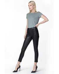 J Brand Alana High-rise Cropped Skinny In Black Leather