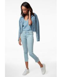 J Brand - 835 Mid-rise Cropped Skinny In Sky Destruct - Lyst