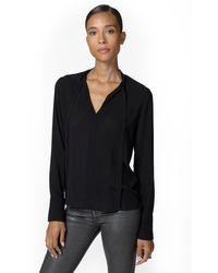J Brand Mira Bow Tie Blouse - Black