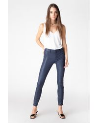 J Brand L8001 Mid-rise Super-skinny Leather Legging - Blue