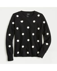 J.Crew Everyday Cashmere Crewneck Sweater In Sequin Polka Dots - Black