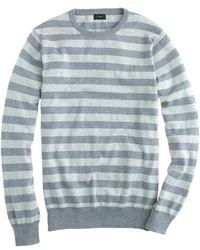 J.Crew - Cotton-cashmere Jumper In Heather Graphite Stripe - Lyst