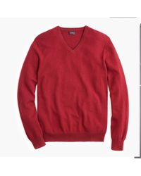 J.Crew Everyday Cashmere V-neck Sweater - Red