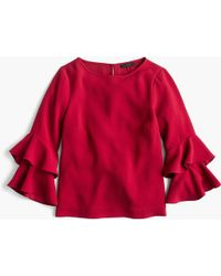 b7a9300c238 J.Crew - Tiered Bell-sleeve Top In Drapey Crepe - Lyst