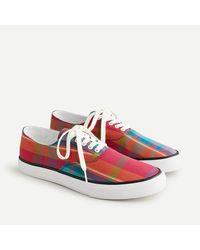 J.Crew Sperry® Cloud Cvo Deck Sneakers In Plaid - Pink