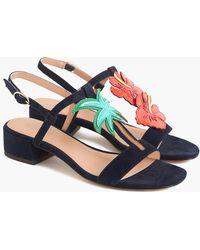 J.Crew - Tropical Low-heel Sandals In Suede - Lyst