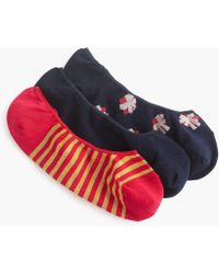 J.Crew - No Show Socks Three-pack In Bows, Stripes And Solids - Lyst