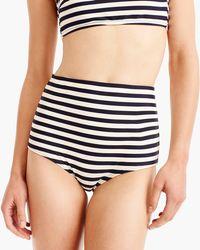 J.Crew - High-waisted Bikini Brief Bottom In Stripe - Lyst