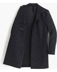 Harris Wharf London Boiled Wool Topcoat In Tartan - Blue