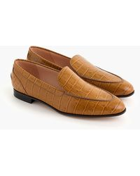 J.Crew Academy Loafers In Crocodile-embossed Leather - Brown