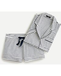 J.Crew Dreamy Short-sleeve Pajama Short Set In Stripe - Blue