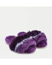 Ariana Bohling Striped Slippers In Baby Alpaca - Purple