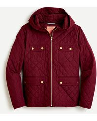 J.Crew Quilted Field Jacket With Primaloft® - Red