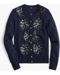 J.Crew Sequin Flower Jackie Cardigan Sweater - Blue