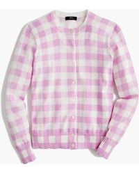 J.Crew - Cotton Jackie Cardigan Sweater In Gingham - Lyst