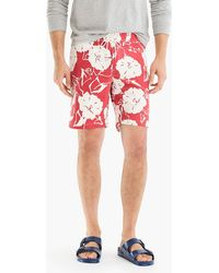 """J.Crew - 9"""" Stretch Board Short In Red And White Floral - Lyst"""