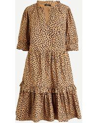 J.Crew Ruffleneck Tiered Popover Dress In Leopard Dot - Natural